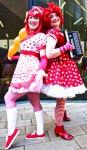Ladies dressed as girls in red