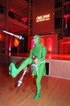 Little green man juggling
