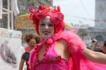 Pink character at SF pride parade