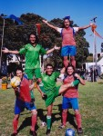 Soccer studs show off performing acrobatic feats, juggling, hoop manipulation, and get YOU involved in the game...