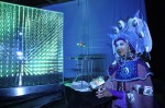 Illuminated Science Tarot Reader with blacklight video projection, magical light box and dragonflies