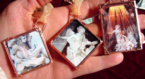 Magical amulets encased in glass are gifted to guests with pomp and circumstance