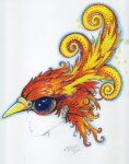 Phoenix head piece drawing