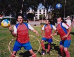 Soccer studs show off performing acrobatic feats, juggling, hoop manipulation, and get YOU involved in the game