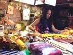 Velocity Circus constumer organizing the sea of fabrics
