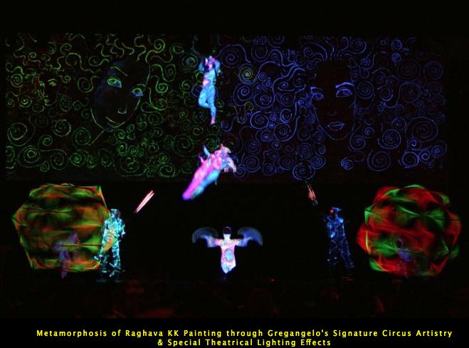 Metamorphosis of Raghava KK Painting through Gregangelo's Signature Circus Artistry & Special Theatrical Lighting Effects